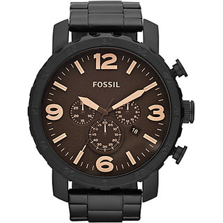 Fossil JR1356 Nate Stainless Steel Mens Watch Black