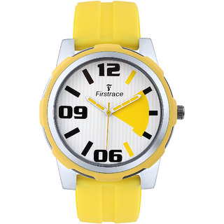 Firstrace Round Dial Yellow Rubber Strap Men'S Quartz Watch