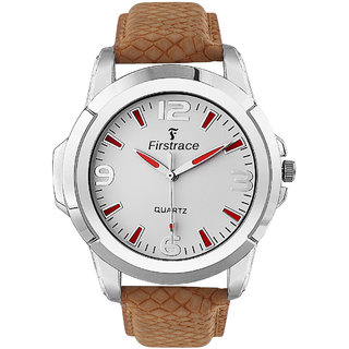 Firstrace Round Dial Brown Leather Strap Men'S Quartz Watch