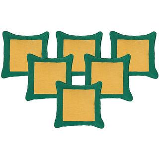 Dhrohar Hand Woven Cotton Cushion Cover - Yellow & Green - Set of 6