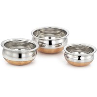 MAHAVIR 3PC COPPER BOTTOM BABY HANDI COOKWARE SET