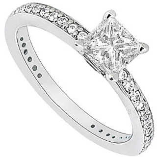 LoveBrightJewelry Elegant 14K White Gold Cubic Zirconia Engagement Ring