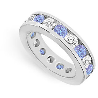 Magnificent Tanzanite & CZ Eternity Band Channel Set In 925 Sterling Silver