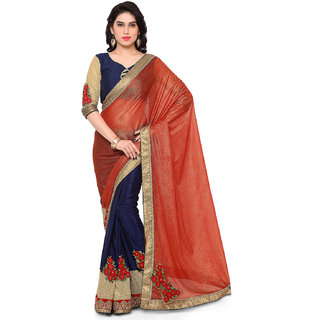 Melluha chinnon Chiffon Patch Work Saree For Wedding,Party With Blouse Piece
