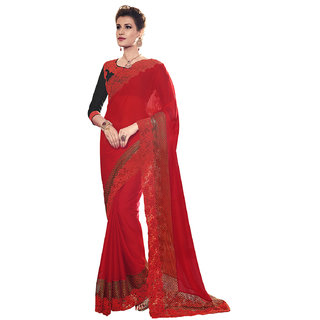 Melluha Moss Chiffon Eembroidered Work Saree For Wedding,Party With Blouse Piece