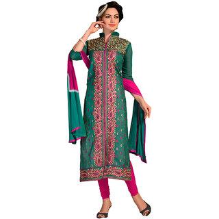 Trendz Apparels Green Chanderi Cotton Silk Embroidered Dress Material