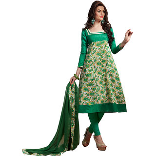 Trendz Apparels Green Bangalori & Bhagalpuri Silk  Digital Print Dress Material