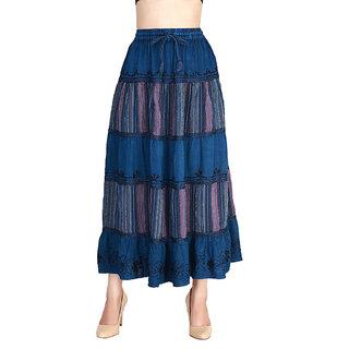 Vaio Fashion Flared Blue Printed Women'S Skirt