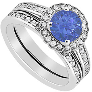Diamond & Sapphire Halo Engagement Ring With Wedding Band Sets In 14K White Gold