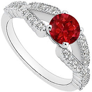 LoveBrightJewelry Diamond & Red Natural Ruby Engagement Ring In 14K White Gold