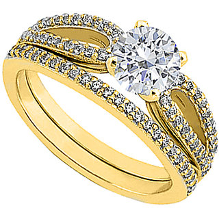 Diamond Engagement Ring With Diamond Wedding Ring In 14K Yellow Gold