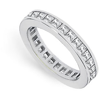 2 Carat Princess Cut AAA CZ Eternity Band Channel Set In 925 Sterling Silver