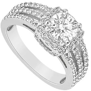 LoveBrightJewelry Engagement Ring In 14K White Gold 1 Carat Cubic Zirconia Ring