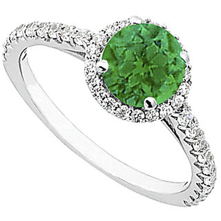LoveBrightJewelry Emerald & Diamond Halo Ring In 14K White Gold