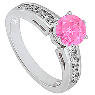 Engagement Ring In 14K White Gold Channel Set Diamond With Pink Sapphire