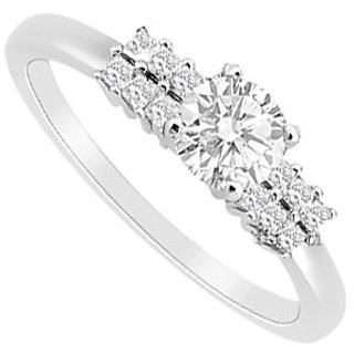 LoveBrightJewelry Engagement Ring With Princess Cut CZ In 14K White Gold