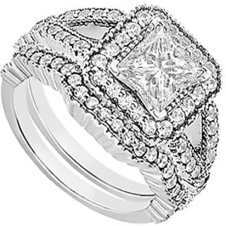 Engagement Ring With Wedding Band Set Of AAA CZ In 925 Sterling Silver