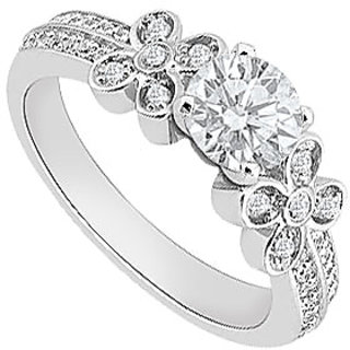 LoveBrightJewelry Engagement Ring In 14K White Gold Floral Design
