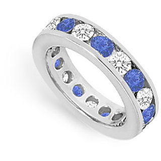 CZ Eternity Band With Sapphire 3 Carat Channel Set In 925 Sterling Silver