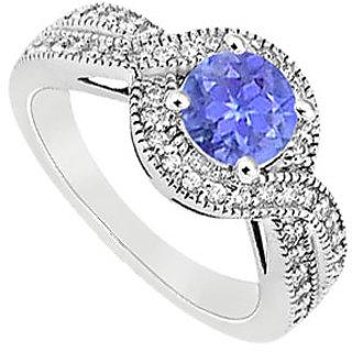 December Birthstone Tanzanite & CZ Halo Engagement Ring In 14K White Gold