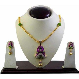 American Diamond studed meenakari necklace set-53
