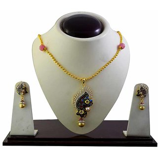 American Diamond studed meenakari necklace set-58
