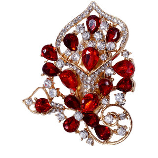 Mansiyaorange Red Alloy Gold Plated Brooches For Women