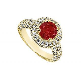 LoveBrightJewelry Halo Engagement Ring Of Diamond & Natural Ruby In 14K Yellow Gold