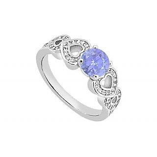 LoveBrightJewelry Heart Engagement Ring Of Diamond & Tanzanite In 14K White Gold