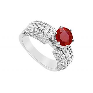 Ravishing July Birthstone Ruby & CZ Engagement Ring In 14K White Gold