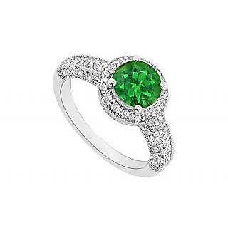 LoveBrightJewelry May Birthstone Emerald & CZ Halo Engagement Ring 14kt White Gold