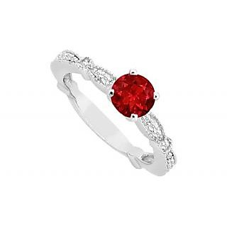 Slick July Birthstone Ruby & CZ Milgrain Engagement Ring In 14K White Gold