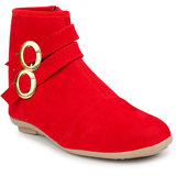 Do Bhai Women Red Zip Boots