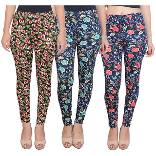 DF Pack of 3 Combo Multi Color Floral Printed Cotton Lycra Leggings