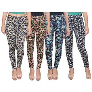 DF Pack of 4 Combo Multi Color Floral Printed Cotton Lycra Leggings