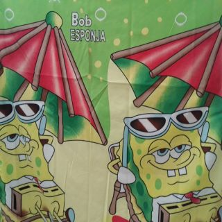 Kids Beautiful Cotton Double BedSheet With 2 Pillow Covers - Bob Esponja Design