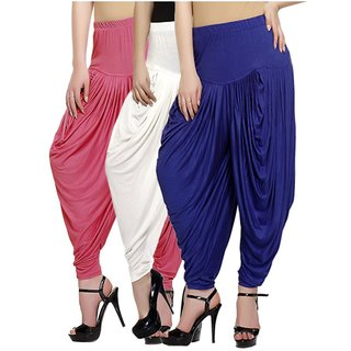 DF Pack of 3 Combo Plain Cotton Dhoti-Navy,White,Coral