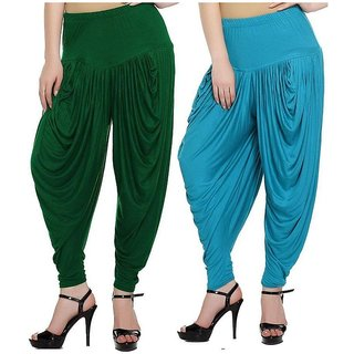 DF Pack of 2 Combo Plain Cotton Dhoti-Sky Blue, Green