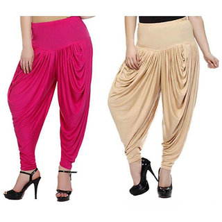 DF Pack of 2 Combo Plain Cotton Dhoti-Beige, Pink