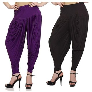 DF Pack of 2 Combo Plain Cotton Dhoti-Black, Purple