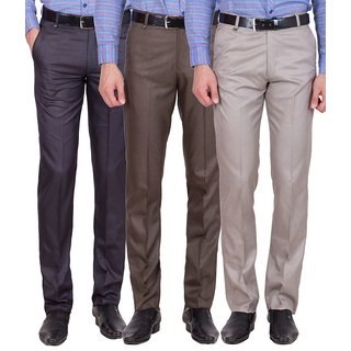 Cliths Men's Cotton Blend Formal Trouser- Pack of 3