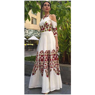 Thankar White  Red Embroidered Heavy Tapeta Silk Anarkali Suit