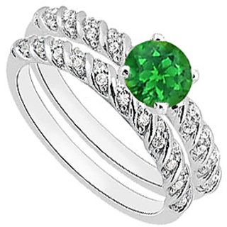 Natural Green Emerald Engagement Ring Sets Of Diamond Band In 14K White Gold