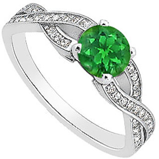 Natural Green Emerald Engagement Ring With Diamonds In 14K White Gold