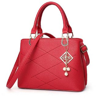 Leather Ladies Handbag Red Color