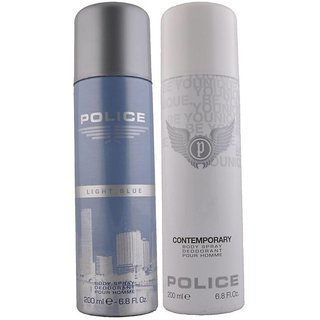 Police Light Blue And Contemporary Deodorant For Men Of 200 ml Each