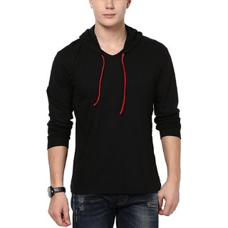 Black v-neck full sleeve hooded t-shirt