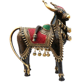 The Cow Brass Dhokra Art H 10 cm L 9cm W 5cm weight 2.65 kg