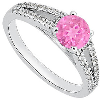 LoveBrightJewelry Fine Pink Sapphire & Diamond Engagement Ring In 14K White Gold