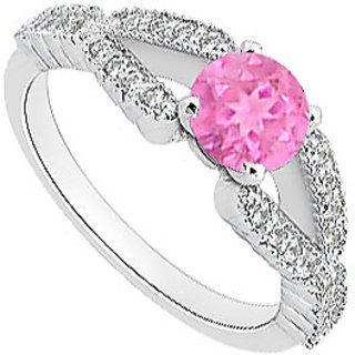 In Trend Pink Sapphire Engagement Ring With Diamond In 14K White Gold